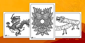 Chinese Dragon Mask Colouring Pages - chinese, dragon, colouring