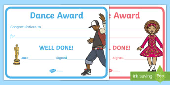 Reward Certificates   Dance Award Certificate - dance, award, certificate, certificates,  PE, physical education