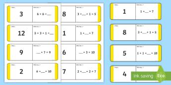 Unknown Numbers KS1 Loop Cards - Unknown, Numbers, Algebra, Equation, Missing, Find,Irish