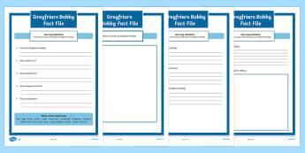 Greyfriars Bobby Fact File Activity Sheets - CfE Scottish Significant Individuals,Scottish