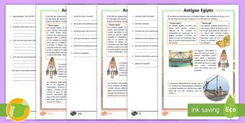 Comprensión lectora de atención a la diversidad: Antiguo Egipto - cigoñal, edad, historia, sociales, ciencias, primaria, nilo, lectura