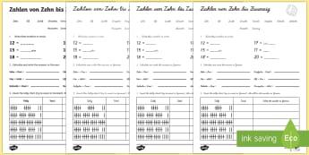 Numbers Ten to Twenty Activity Sheet German - Numbers, Counting, German, worksheet