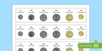 Australian Coins Strip Number Cards - Australian money, currency, coins,Australia, cents, dollars, money, coins,