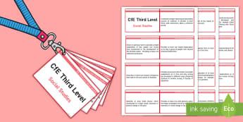 Third Level Social Studies Lanyard-Sized Benchmarks  - CfE Benchmarks, tracking, tracker, assessing, progression, progress, social studies, ,Scottish