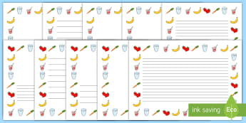 Healthy Eating Page Border -  Healthy eating, health, page border, writing borders, A4, border, healthy snack, food, independent writing