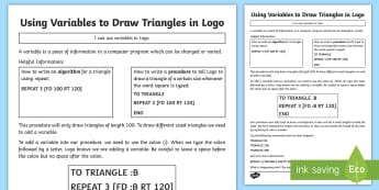 Using Variables to Draw Triangles in Logo Activity Sheet - KS2, curriculum aims, computing, Coding, program, algorithm, variable, procedure, worksheet, triangl