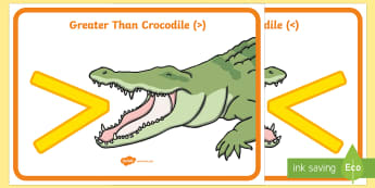 Greater Than And Less Than (Crocodiles) - greater than, less than, maths, numeracy, greater than symbol, less than symbol, numeracy, measurement, more than, less than