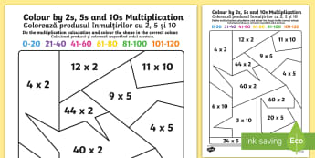 Mixed Colour by 2s, 5s and 10s Multiplication Activity Sheet English/Romanian - Mixed Colour by 2s, 5s and 10s Multiplication Activity Sheet - colour, colour by, 5, 2, 10, multipli
