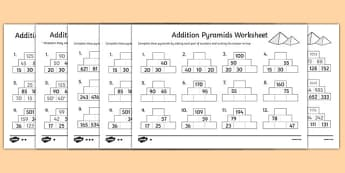 Addition Pyramids Worksheet - addition pyramids, addition worksheets, ks2 addition, ks2 addition pyramids, addition with hundreds, ks2 numeracy worksheets