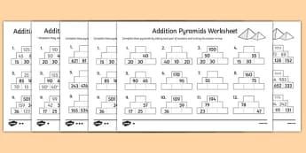 Addition Pyramids Worksheet - addition pyramids, addition worksheets, ks2 addition, ks2 addition pyramids, addition with hundreds, ks2 numeracy worksheets