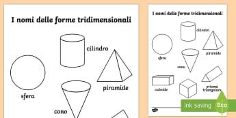 I Nomi delle Figure Tridimensionali Fogli da Colorare - fogli, da, colorare, figure, tridimensionali, gemetria, colori