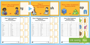 Phase 5 Phonics Screening Check Resources Support Pack - Phonics Screening Check Resources, Year 1, letters and sounds, Phase 5, nonsense words, real words,