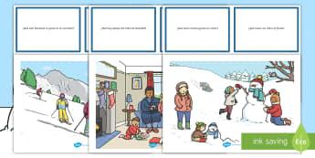 Pack de recursos: Tarjetas de preguntas - Invierno - preguntas, tarjetas, invierno, invernal, Navidad, muñeco de nieve, deporte de invierno, esquiar, es