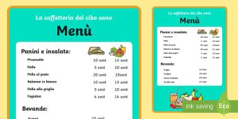 la Caffetteria del Cibo Sano Menu Gioco di Ruolo - gioco, di, ruolo, menu, caffetteria, del ,cibo, sano