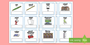 EAL Everyday Objects at School Editable Cards English/Afrikaans - EAL Everyday Objects at School Editable Cards with English - EAL, everyday objects, editable cards,