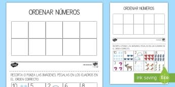 Ficha de actividad: Ordenar Números - Invierno - ficha de ordernar, números, ordena, número, uno, dos, tres, cuatro, cinco, seis, siete, ocho, nuev