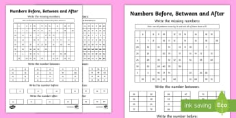 Before, Between and After Activity Sheet - NI KS1 Numeracy, before, between, after, worksheet, homework, home learning.