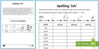 Year 1 Spelling Practice /ch/ Sound Spelt 'tch' Homework Activity Sheet  - ks1, English, year 1, practice, home learning, home work, homework, Worksheet, practise, SPaG, spell