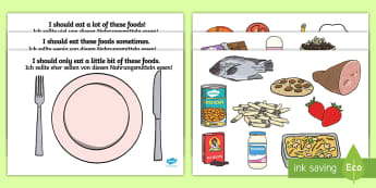 Healthy Eating Sorting Cards English/German - Healthy Eating Sorting Activity - healthy eating, healthy eating sorting, healthy eating sorting gam
