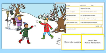 Snowy Day Scene Blanks Level 1 Questions - receptive language, expressive language, verbal reasoning, language delay, language disorder, comprehension, autism