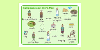 Rumpelstiltskin Word Mat - Rumpelstiltskin, miller, miller's daughter, spinning wheel, word mat, writing aid, mat, forest, straw, gold, child, spinning, queen, woods, ring, greedy, palace, king, story book, traditional tale, story, story resources