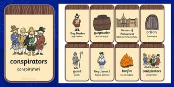 The Gunpowder Plot Flashcards Romanian Translation - romanian