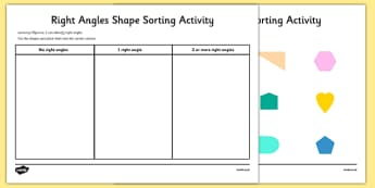Right Angles Shape Sorting Activity - right angles, shape, sorting, activity
