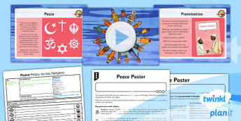 PlanIt - RE Year 5 - Peace Lesson 2: Peace Across Religions Lesson Pack - Inner Peace, Community Cohesion, Mindfulness, Shalom, Eastern, Western, enlightened, Gandhi
