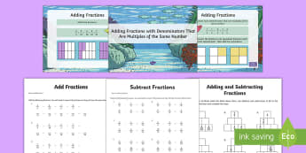 Adding and Subtracting Fractions - SEO Ranking Maths Resources, maths, numeracy, ks2, adding, subtracting, add, take away, fractions, n