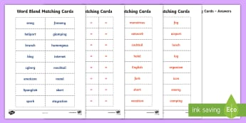 Word Blends Matching Cards - Word Blends Matching Cards, english, language, ACELA1500, word blends, year 5, spelling, matching ca