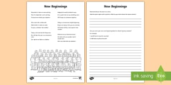 New Beginnings Poem Activity Sheet - school, poem, rhyme, rhyming couplets, classroom, worksheet, transition