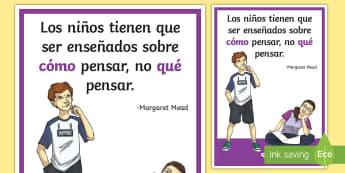 Póster DIN A2: Los niños tienen que ser enseñados - póster, poster, pósters, mural, exponer, exposición, decorar, decoración, margaret mead, cómo p