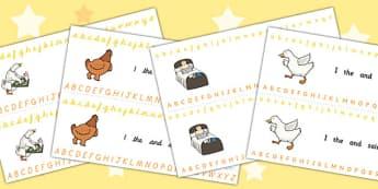 Farmer Duck Alphabet Strips - farmer duck, alphabet strips, alphabet line, letter, a-z,a-z strip, a-z line, writing aid, themed alphabet strips, alphabet