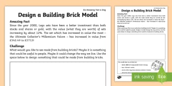 Building Brick Model Activity Sheet - Amazing Fact Of The Day, activity sheets, powerpoint, starter, morning activity, February, building