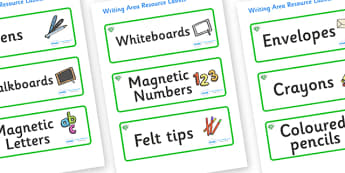 Emerald Themed Editable Writing Area Resource Labels - Themed writing resource labels, literacy area labels, writing area resources, Label template, Resource Label, Name Labels, Editable Labels, Drawer Labels, KS1 Labels, Foundation Labels, Foundatio