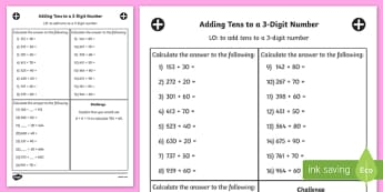 Adding Tens to a 3 Digit Number Activity Sheet Year 3 - adding, 10, worksheet