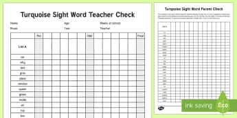 Turquoise Reading Sight Words Checklist - Literacy, Reading, Turquoise sight words, Colour Wheel, Sight Words, english, nz, new zealand