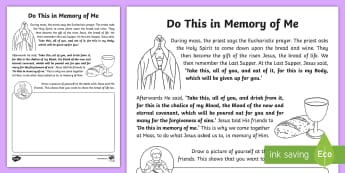 Do This in Memory of Me Activity Sheet - Confession & First Communion Resources, last supper, bread, wine, body of Christ,Irish,worksheet, wo