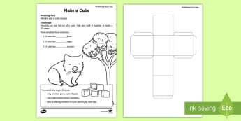 Make a Cube Activity Sheet - Amazing Fact Of The Day, activity sheets, powerpoint, starter, morning activity, Worksheet, April, c