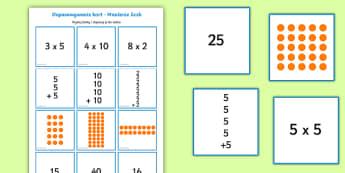 Karty do dopasowywania Mnożenie przez 2 5 i 10 - mnożenie, iloczyn, iloraz, tabliczka, mnożenia, liczenie, liczby, cyfry, matematyka, karty, karcia