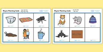 Rhyme Matching Game - Rhyming strings, rhyme, rhyme game, rhyme activity, literacy game, word game