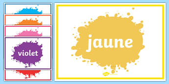 French Colour Display Posters - Colour posters, French, francais, MFL, colour, display, poster, posters, colour mixing, black, white, red, green, blue, yellow, orange, purple, pink, brown