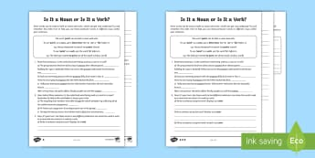 Is It a Noun or Is It a Verb? Differentiated Activity Sheets - SATs Survival Materials Year 6, SATs, assessment, 2017, English, SPaG, GPS, grammar, punctuation, sp