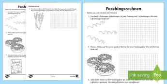 Fasching Sachaufgaben Multiplizieren Arbeitsblatt - Karneval, Fasching,  Mathematik, 1./2. Klasse, Sachaufgaben, Rechengeschichten, Multiplizieren