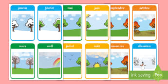 Flashcards : Les mois de l'année - mois, months, cycle 1, cycle 2, date, flashcards, cartes,French