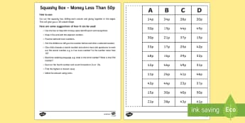 Squashy Box Money Less Than 50p - Mental Maths Warm Up + Revision - Northern Ireland, squashy boxy, money, 50p, coins, mental maths ga