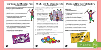 Questions Pack to Support Teaching on Charlie and the Chocolate Factory Differentiated Activity Sheets-Australia - Questions Pack to Support Teaching on Charlie and the Chocolate Factory  Differentiated Activity She