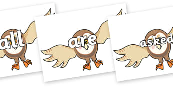Tricky Words on Hullabaloo Owl to Support Teaching on Farmyard Hullabaloo - Tricky words, DfES Letters and Sounds, Letters and sounds, display, words