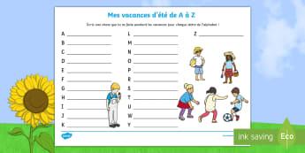 Feuille illustrée pour la production d'écrits : Mes vacances d'été de A à Z - Mes vacances d'été de A à Z, mes vacances, A à Z, a à z, vacances, été, l'été, ete, produ