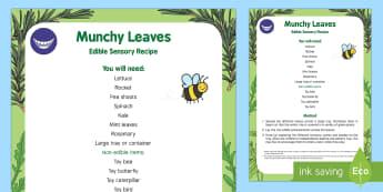 Munchy Leaves Edible Sensory Recipe - The Crunching Munching Caterpillar, Sheridan Cain, life cycle of a butterfly, leaves, sensory play